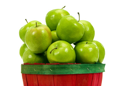 green apples: Mountain Of Fresh Green Apples Isolated Stock Photo