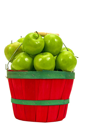 green apple: Basket Full Of Fresh Picked Green Apples Isolated on White