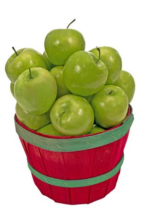 bushel: Small Bushel Of Delicious Green Apples Isolated on White Stock Photo
