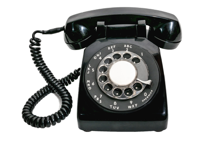 phone isolated: Classic Vintage Black Rotary Dial Telephone Isolated