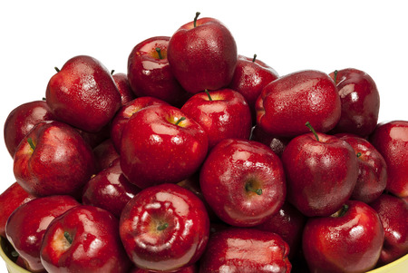 close up: Wet and Juicy Red Apples With Copy Space