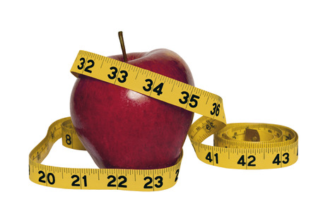 Big Red Apple With Yellow Measuring Tape Lose Weight Concept Stockfoto