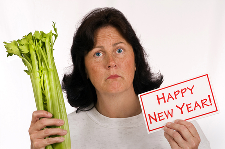 eating right: Happy New Year Eating Healthy And Lose Weight Concept