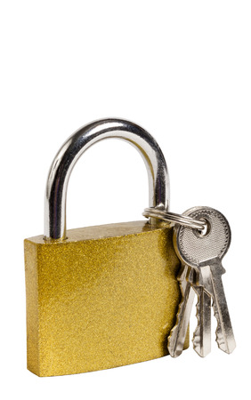 keys isolated: Vertical Shot Of Gold Colored Lock And Keys Isolated