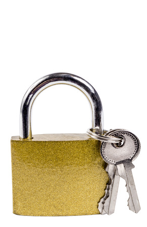 lock symbol: Gold Colored Padlock and Keys Isolated On White