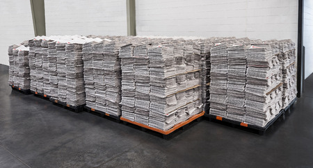 Newspaper Stacks On Pallets
