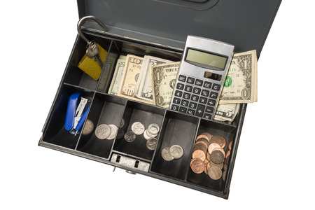commercial activity: Cash Box Ready For Garage Rummage Yard Sale Business