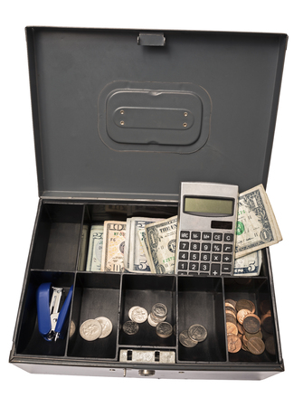 cash box: Old Cash Box Ready for Garage Yard Rummage Sale or Farmers Market Stock Photo