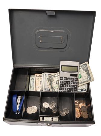 cash box: Old Cash Box Ready for Garage Yard Rummage Sale or Farmers Market Stock Photo