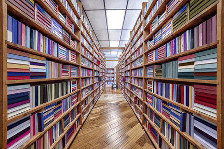 unreadable: Book Selves in Used Bookstore With Titles Unreadable Stock Photo