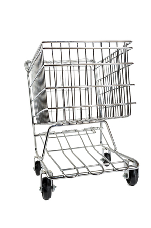 shopping cart isolated: Shopping Cart Isolated On White Abstract View Stock Photo