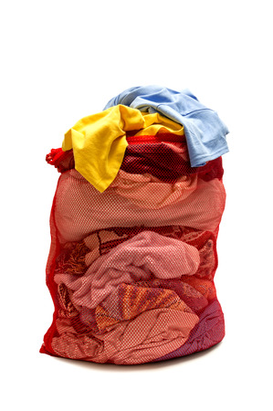 Overstuffed Red Laundry Bag Isolated On white