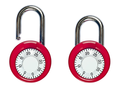 secret code: Pair Of Combination Locks One Locked And One Unlocked Stock Photo