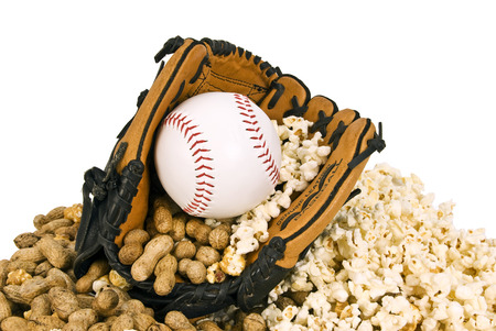 mitt: Baseball Season Is Here Baseball Mitt With Baseball And Snacks
