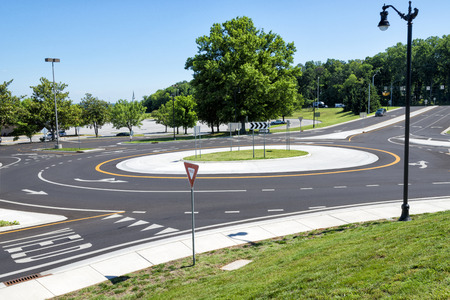 Traffic Roundabout Intersection In Suburbs