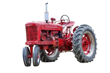 Old Red Work Tractor Isolated On White. Stock Photo