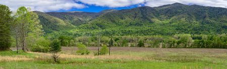 A springtime panorama from the Cades Cove section of the Great Smoky Mountains National Park. Reklamní fotografie