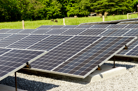 Close up of solar panels with focus on the front. Cades Cove Tennessee