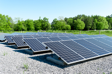 Large solar panels in a wooded area of East Tennessee.