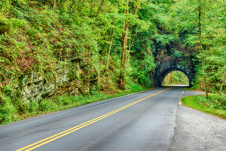 Horizontal shot of a Tunnel in the Smoky Mountains on the way to Cades Cove.