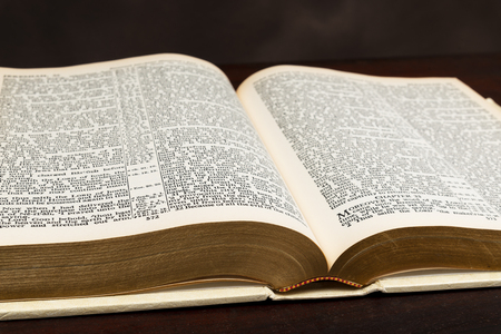 Horizontal close-up shot of an old Bible lying open on a brown background. Imagens
