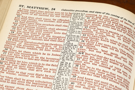 Horizontal close-up shot of an open Bible show Matthew 24 in red print. 스톡 콘텐츠