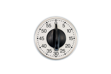 Horizontal shot of a kitchen time set to 0 minutes.  Centered. Isolated on white.  Copy space.