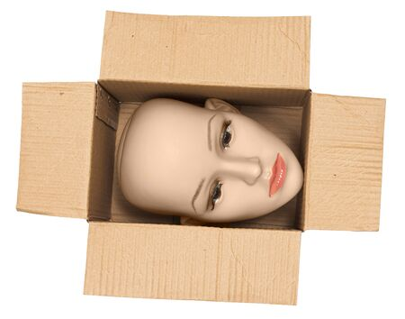 Horizontal shot of a bald woman mannequin head inside an open cardboard box. The box is turned so the head is sideways.  White background.
