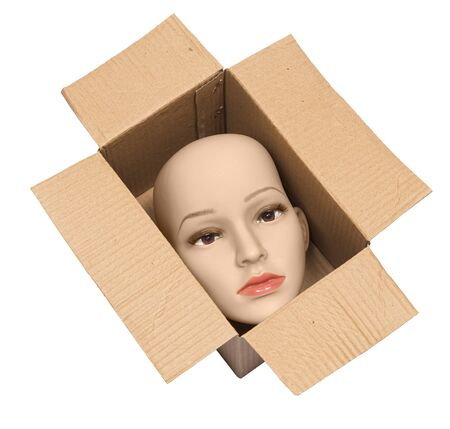 Horizontal shot of a bald woman mannequin head inside an open cardboard box. The box and the head is on the diagonal. White background.