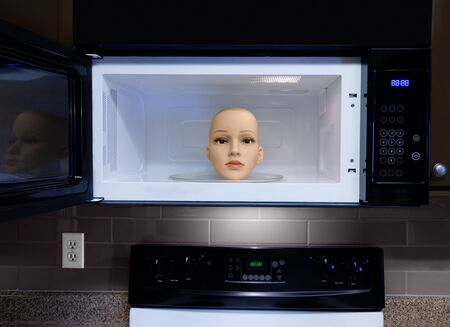 Horizontal shot of a female mannequin head inside a microwave with the door open.  The head is looking at you. The inside of the microwave is white. Reklamní fotografie