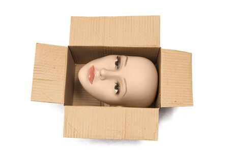 Horizontal shot of a bald woman mannequin head inside an open cardboard box with shadows. The box is turned so the head is sideways.  White background. Reklamní fotografie