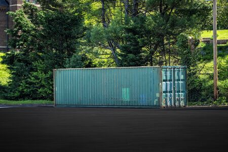 Horizontal shot of a full size portable storage trailer in a parking lot. Reklamní fotografie