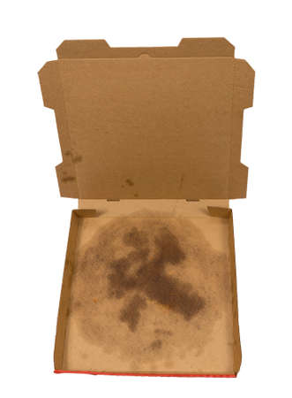 Overhead shot of an empty pizza box with grease stain in bottom of box