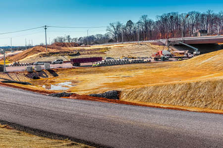 Horizontal shot of a new road under construction in Tennessee.