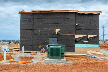 Horizontal shot of a new fast food restaurant under construction in Tennessee.