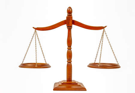 Horizontal shot of the scales of justice on a white background. Stockfoto