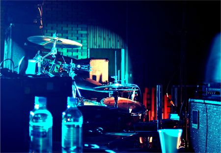 Backstage music equipment in ambient blue lighting. Stock Photo