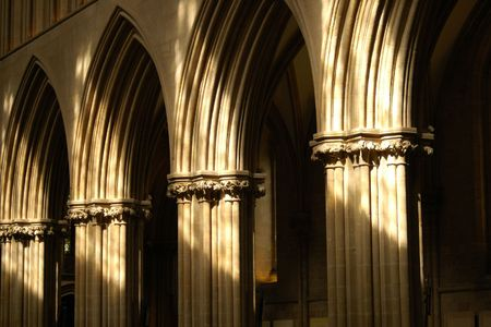 Sun lit Cathedral arches. photo