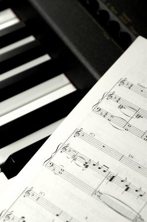 rhythm rhythmic: Sheet music on piano keys.