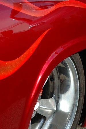 chromed: Custom paintwork and chromed wheel. Stock Photo