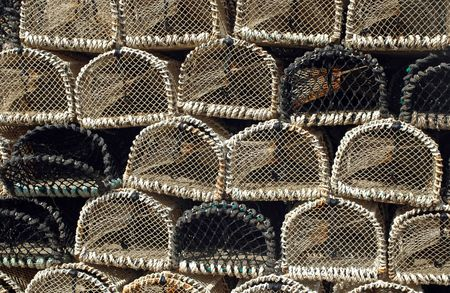 commercial fisheries: Stack of wicker lobster pots