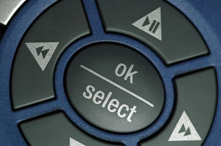 remote controls: OKselect detail on remote handset. Stock Photo