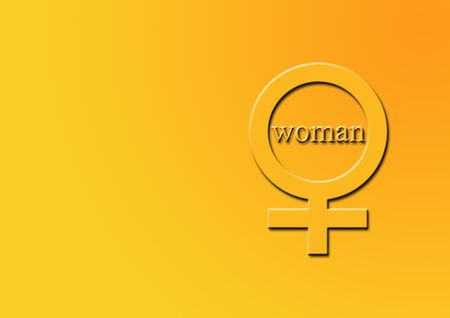 std: Symbol illustration for woman with text.