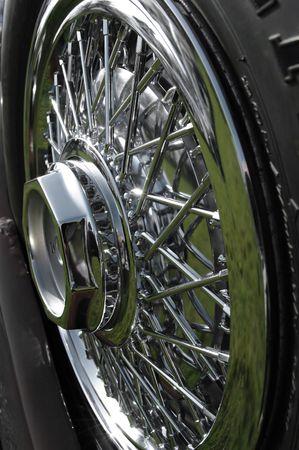 spoked: cloke-up of chromed spoked wheel Stock Photo