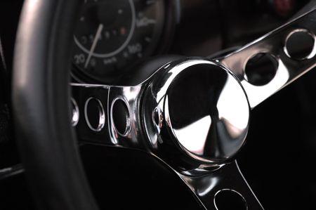 luxury sports car steering wheel Stock Photo