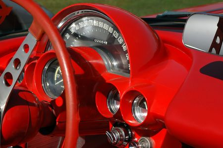red dashboard from vintage sports car Stock Photo - 880546