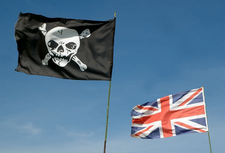 skull and crossbones and british union flag