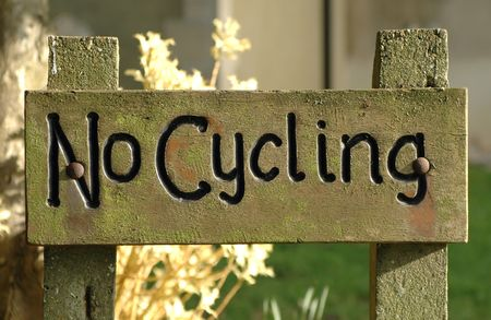 no cycling warning sign in wood Stock Photo - 897839