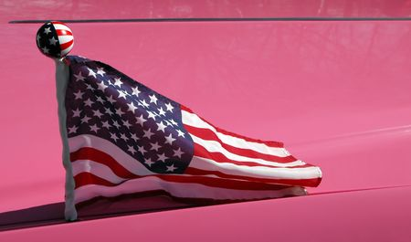 stars and stripes on pink classic american car photo