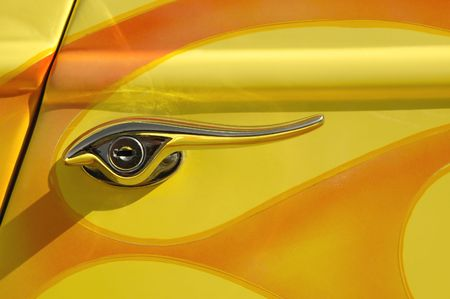 door lever on bright two-tone hot rod photo
